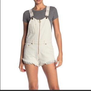 Free People Sunkissed Short Overalls Off White 12